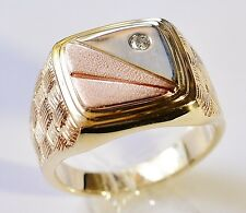 GENTS RING CLASSIC MANS RING GENUINE DIAMOND 3-TONE 9K 375 GOLD SIZE R BOXED NEW
