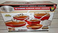 New GOTHAM STEEL Nonstick 10 pc Square Copper Cookware Set Scratch Proof Red