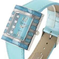 Rechteckige Armbanduhren aus Edelstahl mit Kunstleder-Armband und Glanz-Finish