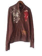 Ed Hardy Full Zip Mens Jacket Size XL New York City Tiger Tattoo Theme Brown