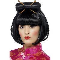 Womens Oriental Lady Wig w Chopsticks in Hair Black Chinese Japanese Fancy Dress