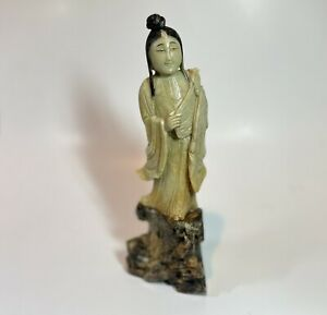 Antique Chinese Soapstone Carving Immortal Scholar Hand Carved Statue Figure