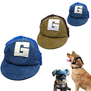 Dog Baseball Cap Outdoor Pet Hat Canvas Blue Coffee for Small to Large Dog