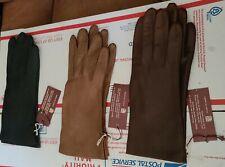 1960sVtg Set (3) Brown, Mink, Black Lamb Leather Dress Gloves Daniel Hays Nwt L