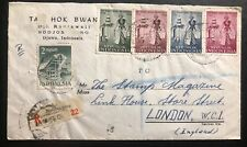 1956 Bodjonegoro Indonesia Commercial Registered Cover To London England