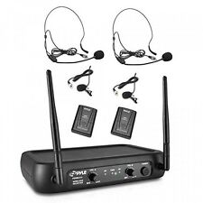 Pyle PDWM2145 VHF Wireless Microphone System, 2 Headset/Lavalier Mics NEW