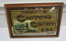 Vintage Chippewa Shoe Co. Chippewa Country USA Advertising Wall Mirror Sign