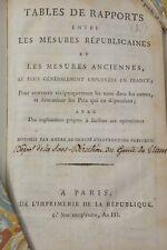 POIDS ET MESURES COMITE D'INSTRUCTION PUBLIQUE IMPR. DE LA REPUBLIQUE AN III TAB
