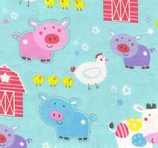 Fabric Baby Farm Animals Barn on Teal Flannel by the 1/4 yard BIN