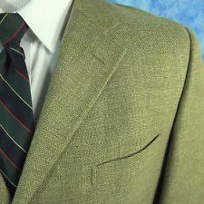 Ermenegildo Zegna Soft Mens 46L Tan Hopsack Wool Silk Cotton Linen Blazer EUR 56