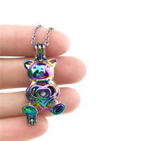 C290 Multi Color Bear Beads Cage Pendant Diffuser Locket COLORFUL Necklace Chain