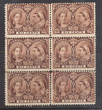 Canada #55 Used Block Of Six With Red Cancels