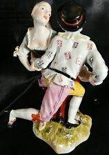 Whimsical Antique Royal Vienna Harlequin Tyrolean Dancers Figure group figurine