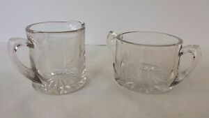 Clear Glass Etched Glass Creamer and Sugar Set Heavy Thick Glass
