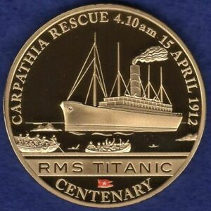 Cook Islands 2012 Gold Plated Dollar, Titanic, Carpathia Rescue (Ref. t4193)