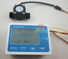 "G1/2"" Flow Rate Water Sensor Meter+LCD Digital Display Control Total Litres Hall"
