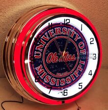 """18"""" University of Mississippi Ole Miss Rebels Sign Double Neon Clock"""