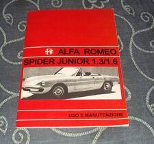 Uso e manutenzione Alfa Romeo Spider Duetto Junior 1.3 - 1.6 Owner's manual