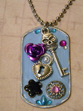 Day of the Dead Skull Key Heart Lock Purple Rose Aqua Blue Dog Tag Necklace D167