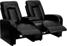 BLACK LEATHER 2-SEAT HOME THEATER RECLINERS WITH STORAGE CONSOLES