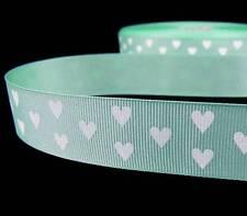 "2 Yds Valentine Mint Green White Hearts Grosgrain Ribbon 7/8""W"