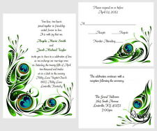 100 Personalized Custom Peacock Swirl Bridal Wedding Invitations Cards Set