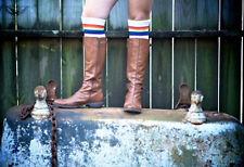 Rainbow Striped Tube Socks-Over the Knee- Retro!! 25-2