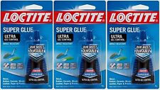 3 New LOCTITE  Super Glue ULTRA GEL CONTROL Clear High Strength 4 grams 1363589