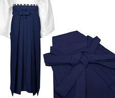 Giapponese Tradizionale Kimono Samurai Hakama Pantaloni Poliestere Navy Da