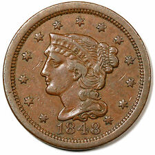 1848 N-32 R-5 CC#2 Braided Hair Large Cent Coin 1c Ex; Dan Holmes