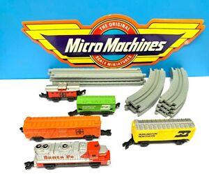 Micro Machines Santa Fe Freight Train Set 1989 Vintage Galoob 12pc Track Red