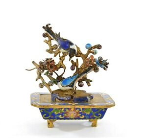Chinese Silver Enamel Miniature Cloisonne Planter Bird Flower Tree Mk