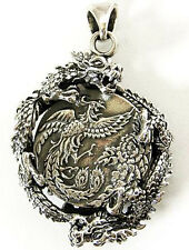 "Japanese Designs ""Dragon & Phoenix"" Solid Sterling 925 Silver Pendant"