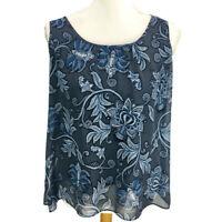 Ann Taylor Loft Women's Blouse Sheer Overlay Blue/Gray Floral Petites Size MP
