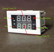 12V Timing Timer Delay Cycling Digital Dual Display Relay Module 0-999h White