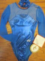 Alpha Factor LS Sheer Foil Crystals Gymnastics Leotard Hair AXSM