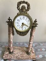 Porcelain Face Antique French Marble & Bronze Clock, For Repair