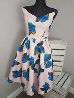 Chi Chi London Off Shoulder Full Prom Midi Dress Floral Print RRP £62 (AS6/37)