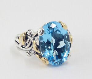 Barbara Bixby Oval Blue Topaz Leaf & Vine Ring Sterling Silver 18k Size 10
