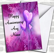 Corazones púrpura Aniversario Tarjeta Personalizada