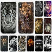 Lion Tiger Print Soft Transparent TPU Phone Case Covers For iPhone 8 11 X XS XR