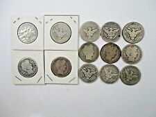 U.S. Barber 90% Silver Half Dollar Coins 1890-1912 Good-About Good Lot of 13