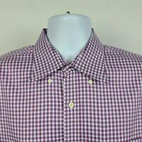 Peter Millar Nanoluxe Easycare Magenta Purple Check Mens Dress Shirt Size Large