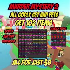 ROBLOX  MM2 SMALL SET EVERY GODLY/ PETS (GODLY,ANCIENT,VINTAGES) GET 102 ITEMS
