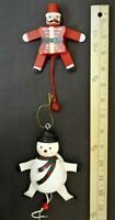 """Vintage 3-D Wood Jumping Jack Snowman,Solider Pull Toy Ornaments 4.5"""""""