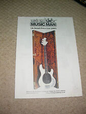 MUSICMAN GUITARS & bajos 2005 Reino Unido importadores colector de guía de precios Personalizado Studio