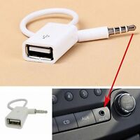 AUX Audio Plug Jack To USB 2.0 Female Converter Cord Cable Car Accessories