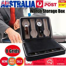 Portable 8 Grids Travel Zips Watch Box PU Leather Storage Case Organizer AU