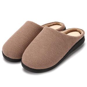Men's Original Two-Tone Memory Foam Slipper Plush Lined House Shoes  Anti-Skid