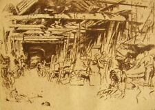 100 year old original etching print 'Wheelwright' James M. Whistler 1920's